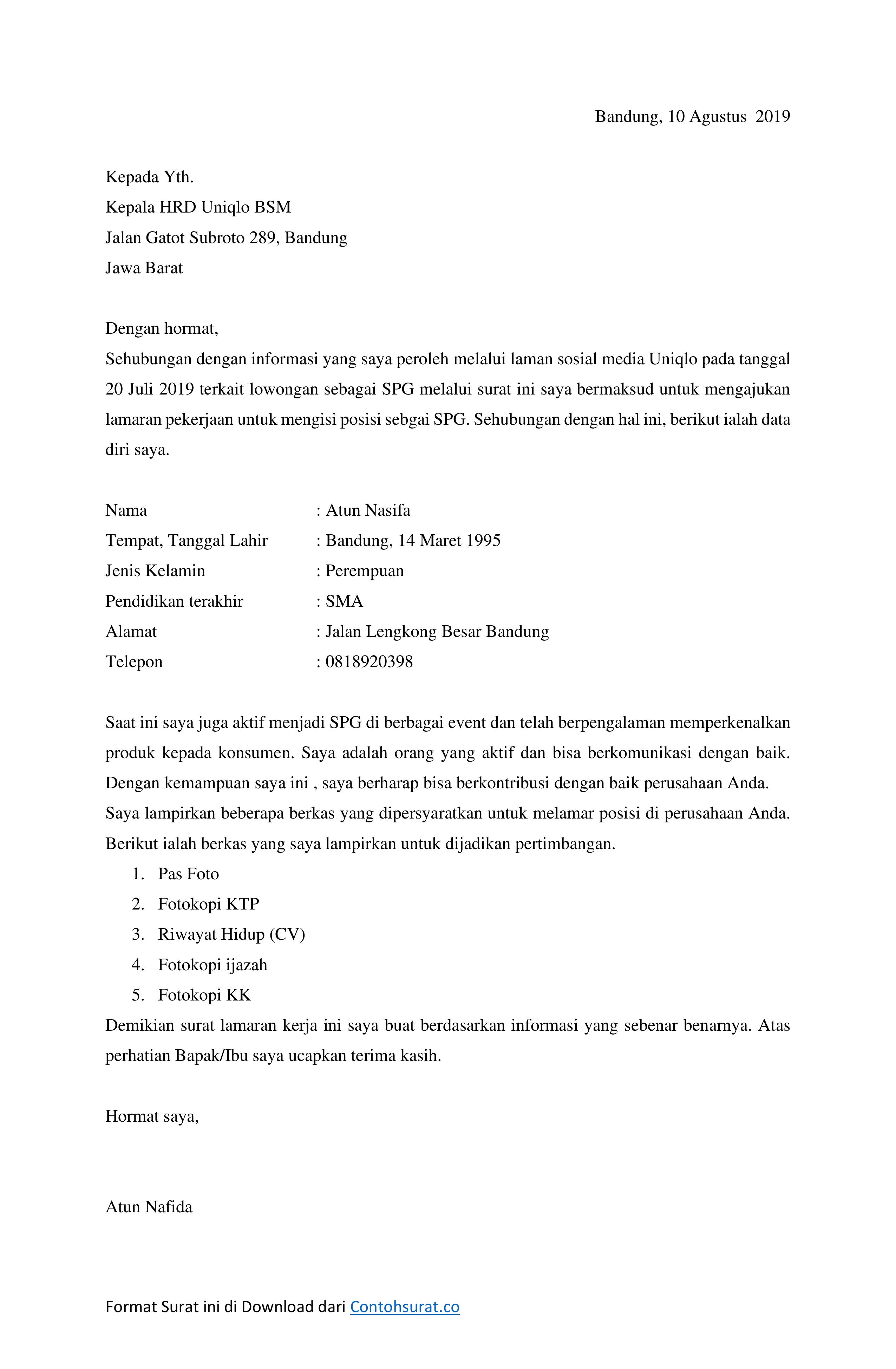 Download Contoh Surat Lamaran Kerja Spg Spb Di Toko Contoh Surat
