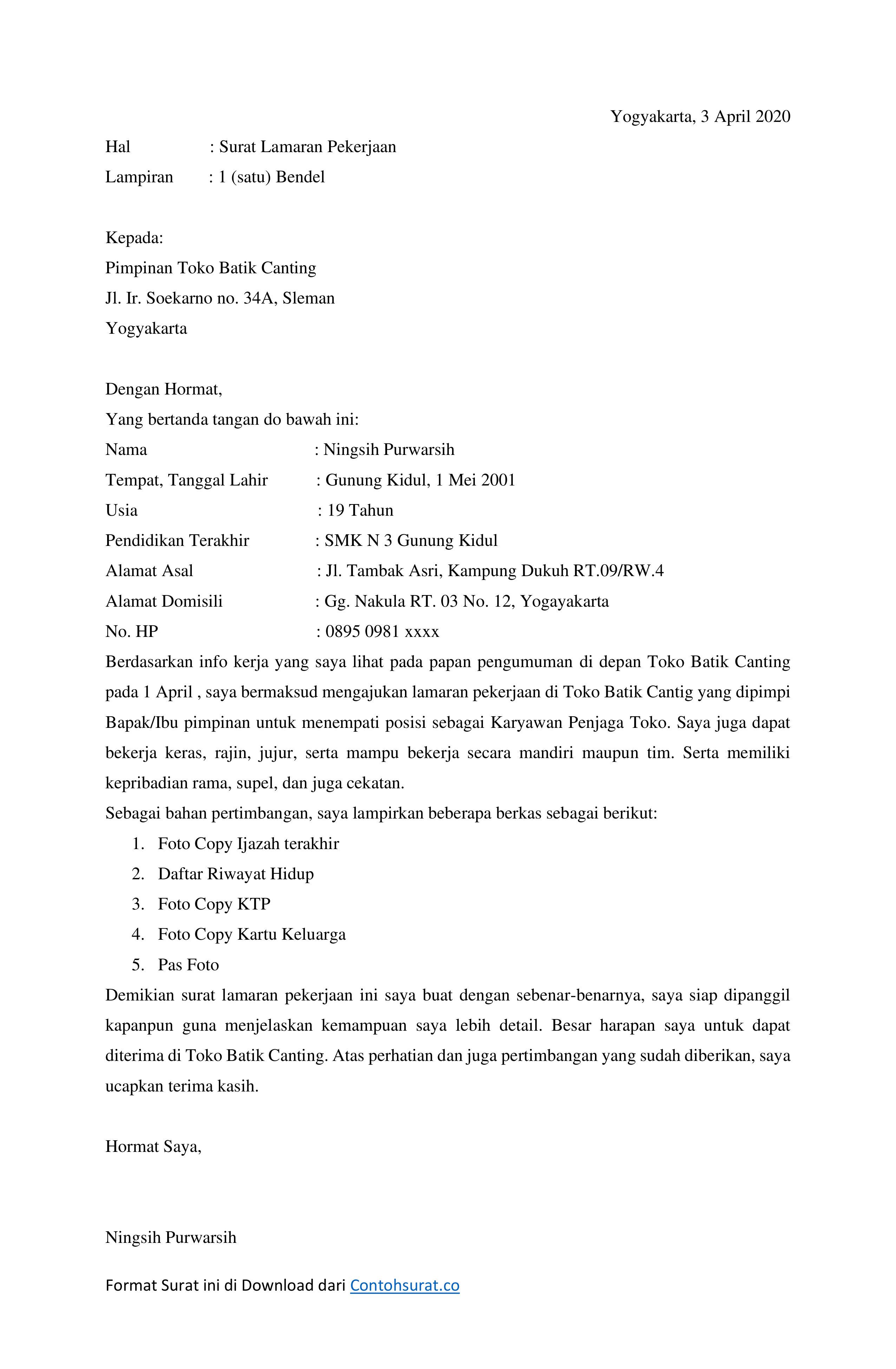 Download Contoh Surat Lamaran Kerja Di Toko Docx Contoh Surat