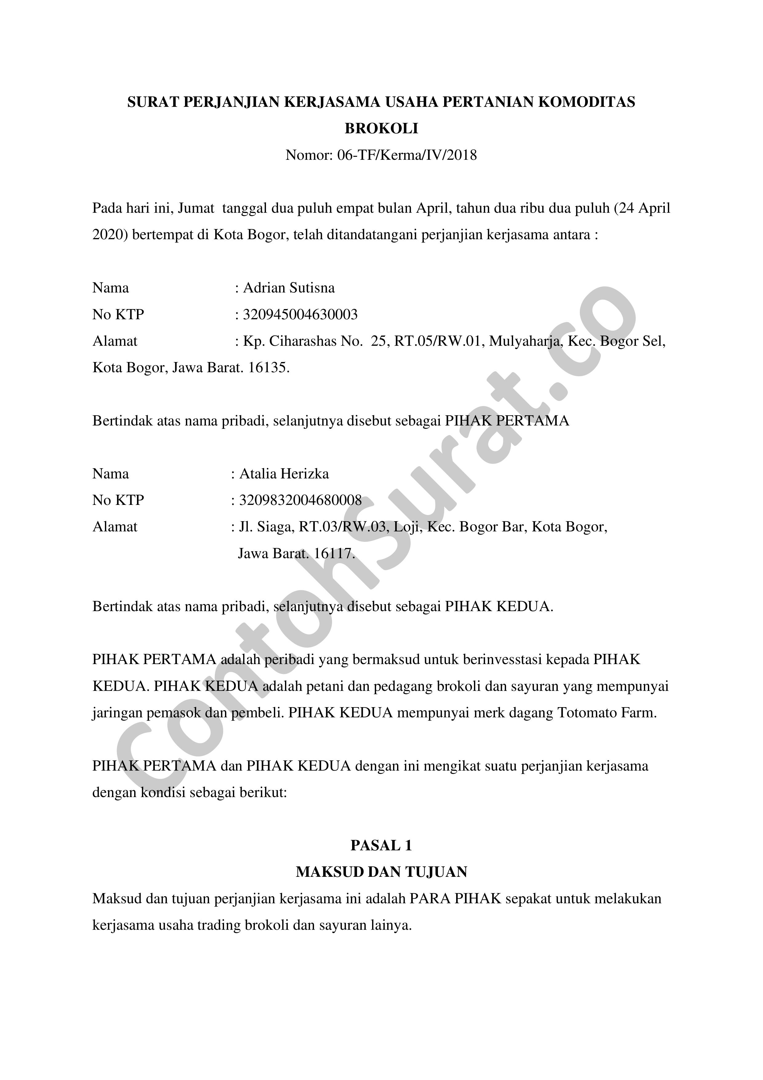 Contoh Surat Perjanjian Kerjasama Jasa