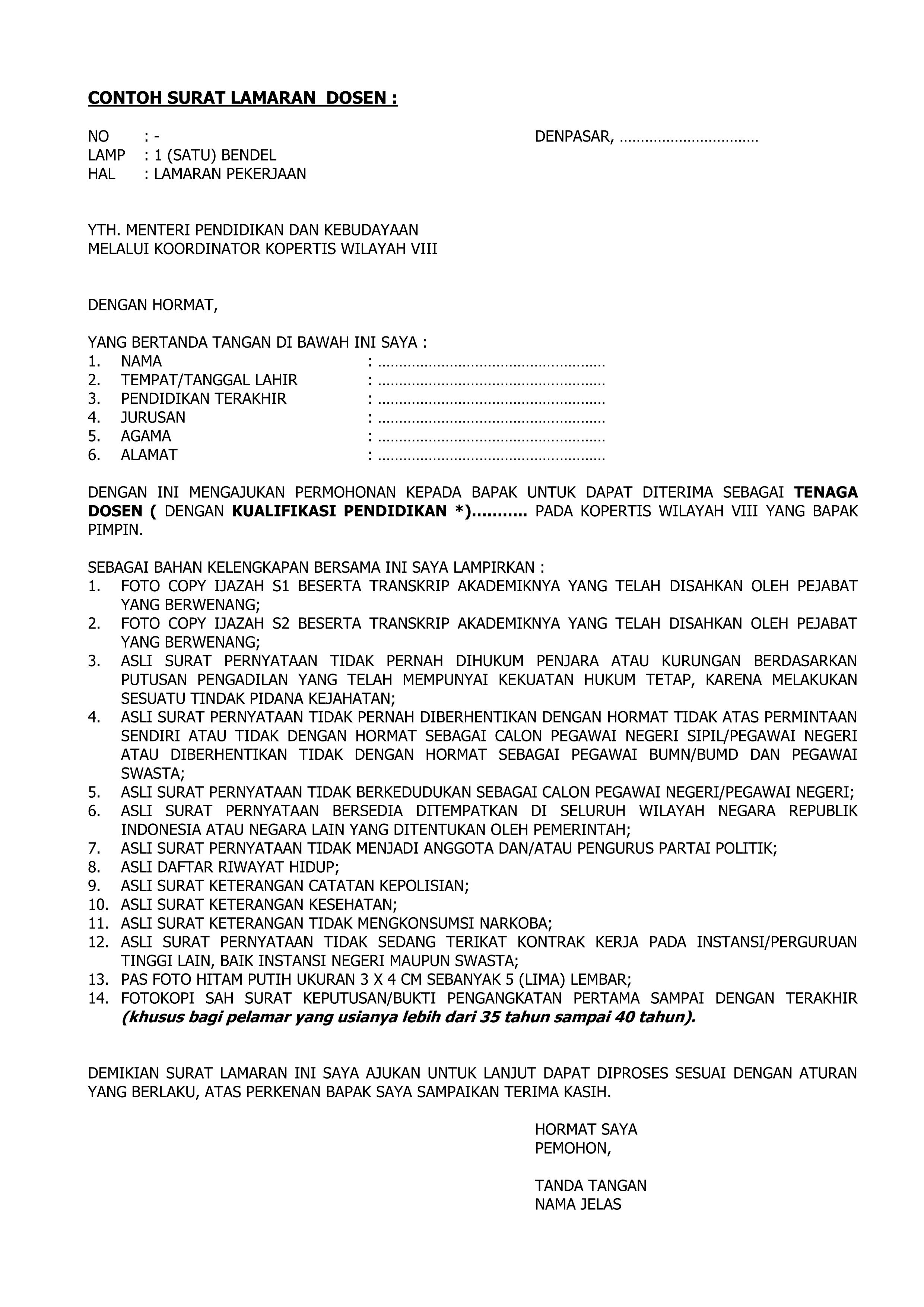 Contoh Surat Lamaran Kerja Dosen - Contoh Surat