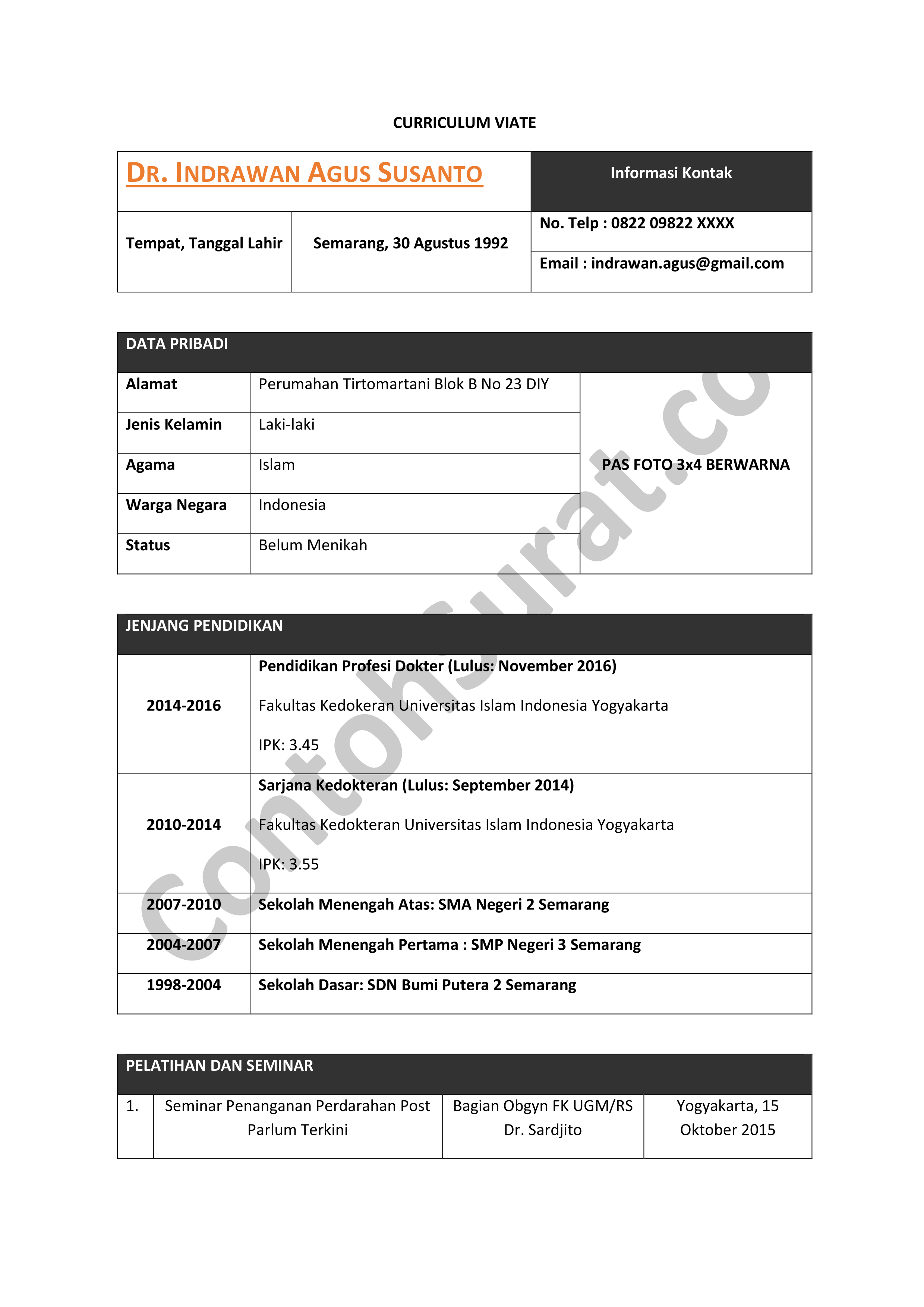 Contoh CV Daftar Riwayat Hidup Dokter Rumah Sakit