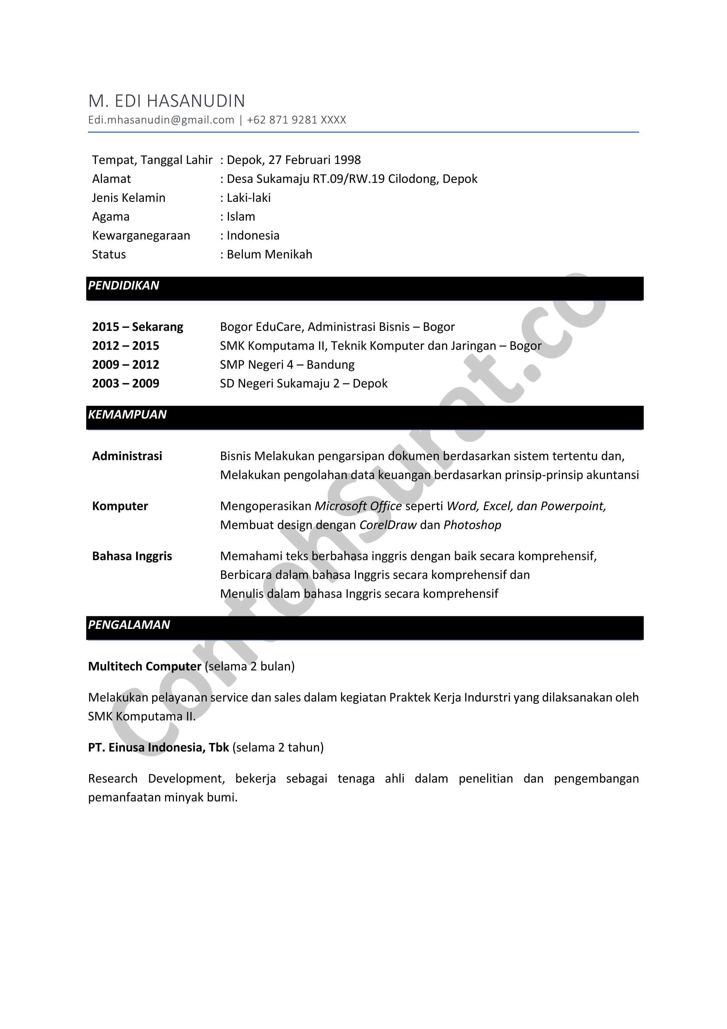 Contoh CV Daftar Riwayat Hidup Dalam Bahasa Inggris
