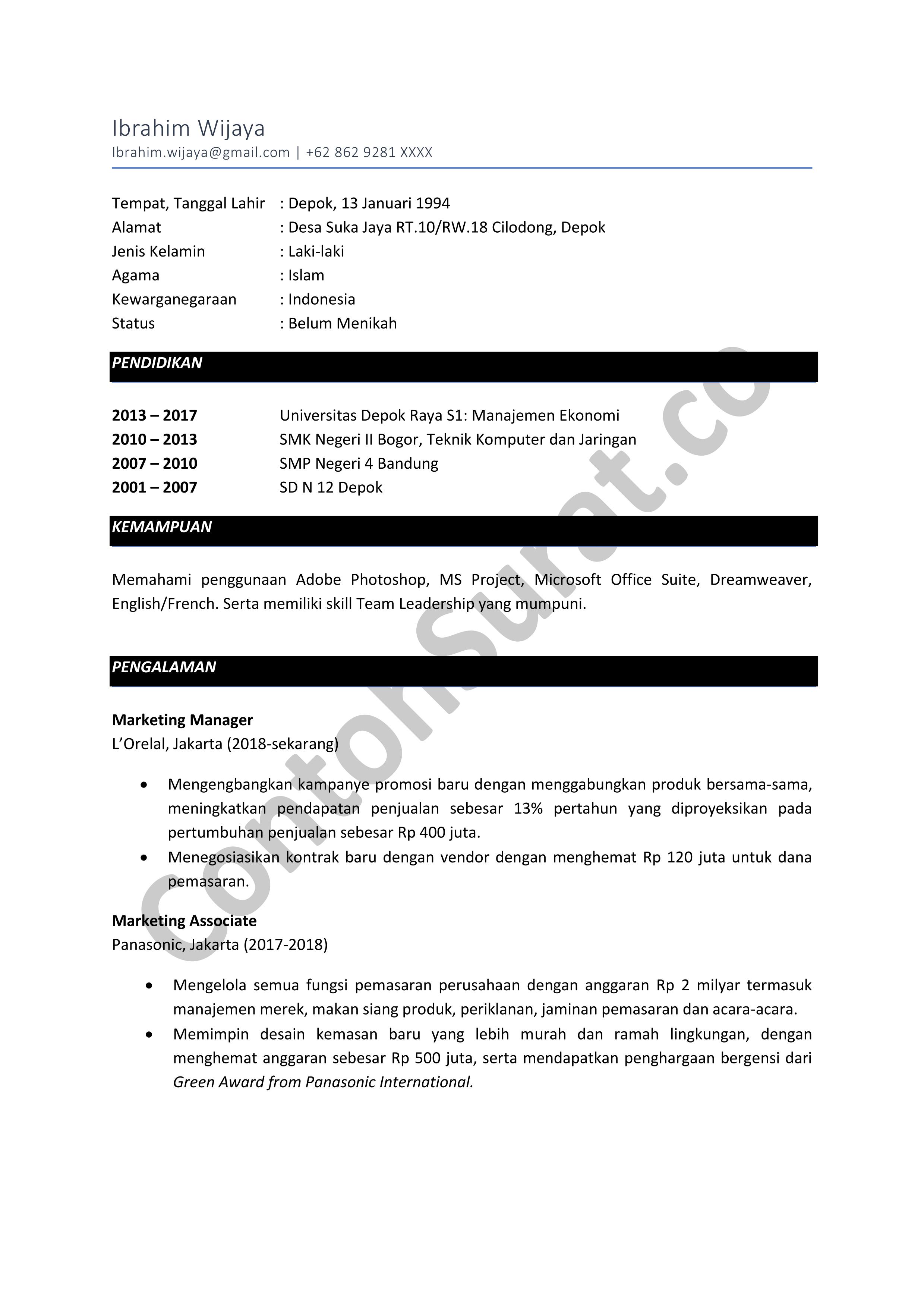 Contoh CV Lamaran Sebagai Staff Marketing