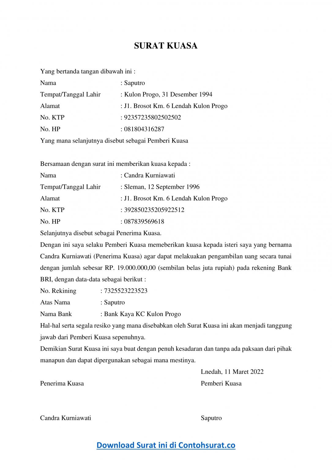 Contoh Surat Kuasa Pengambilan Uang di Bank BRI - Contoh Surat