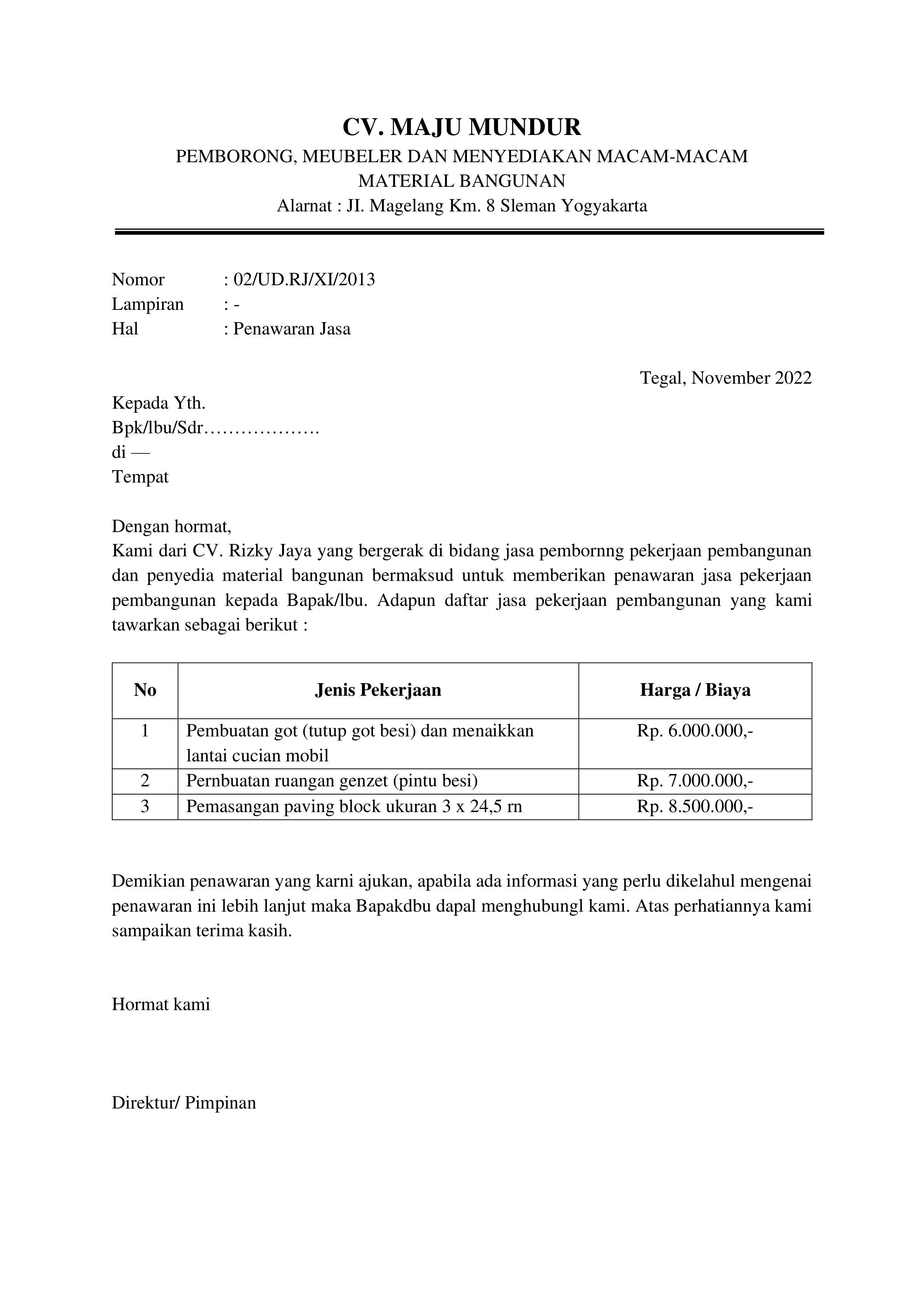Contoh Surat Penawaran Harga Pekerjaan