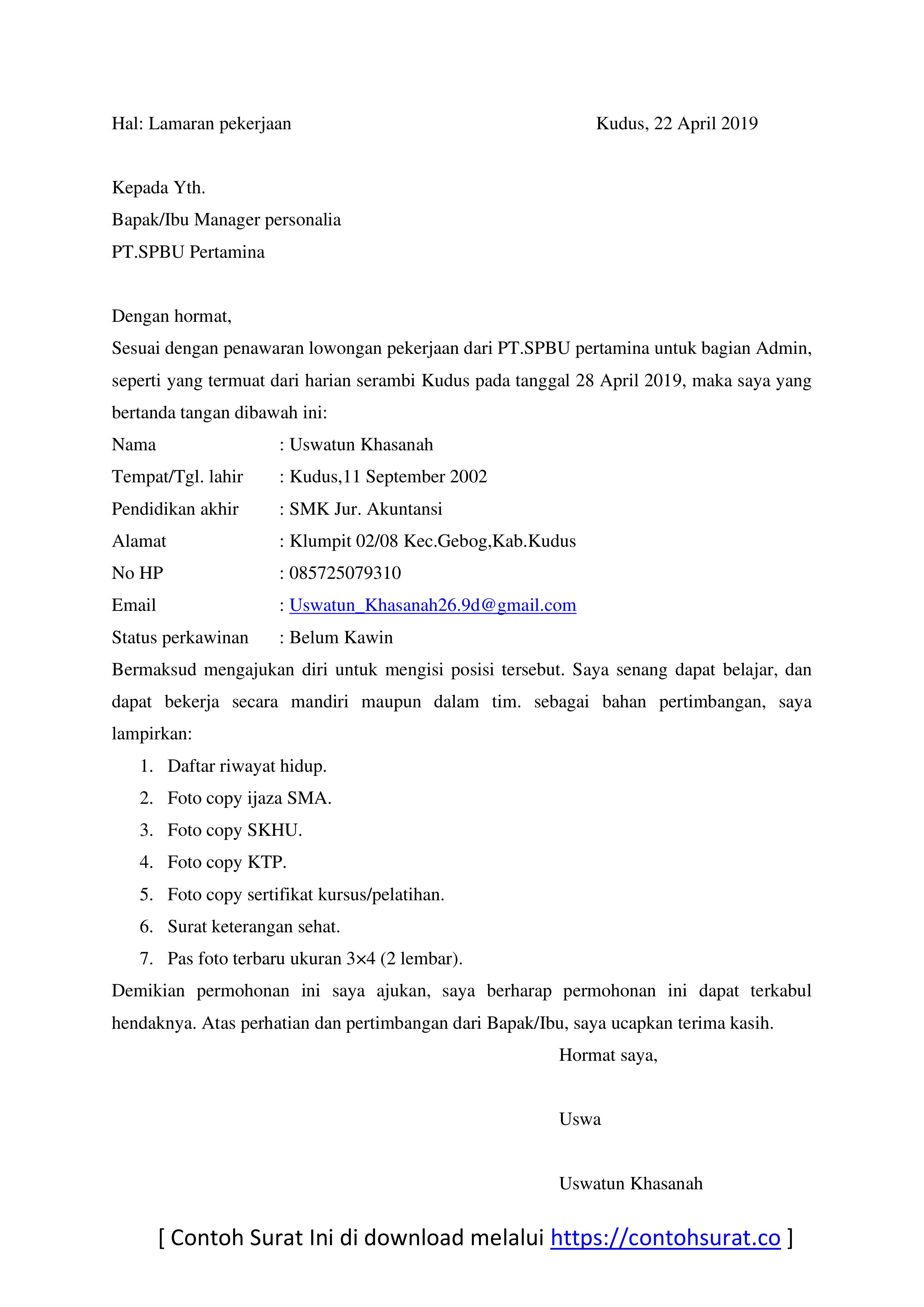 Contoh Surat Lamaran Kerja Di SPBU Bagian Admin
