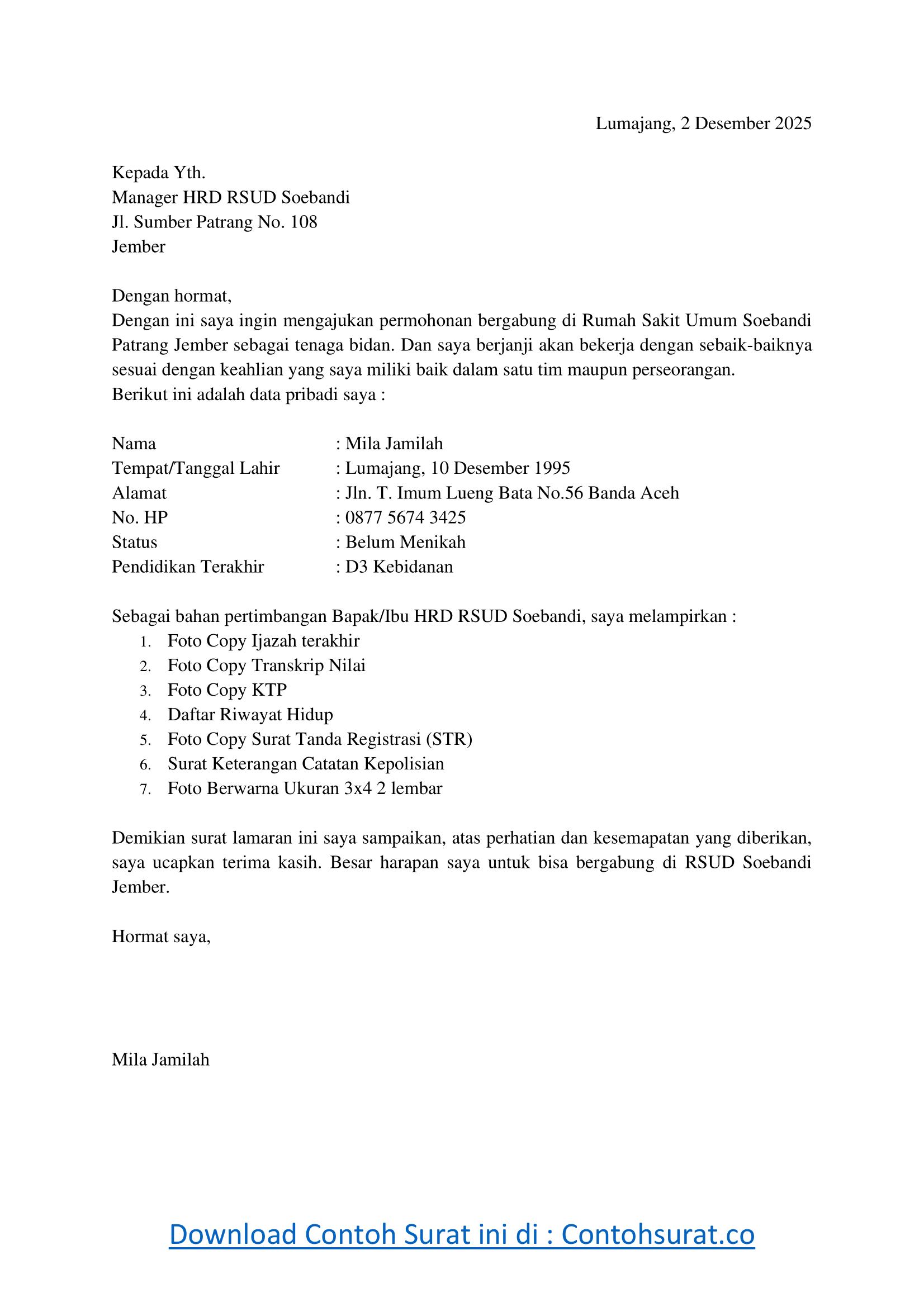 Contoh Surat Lamaran Kerja Bidan Tulis Tangan