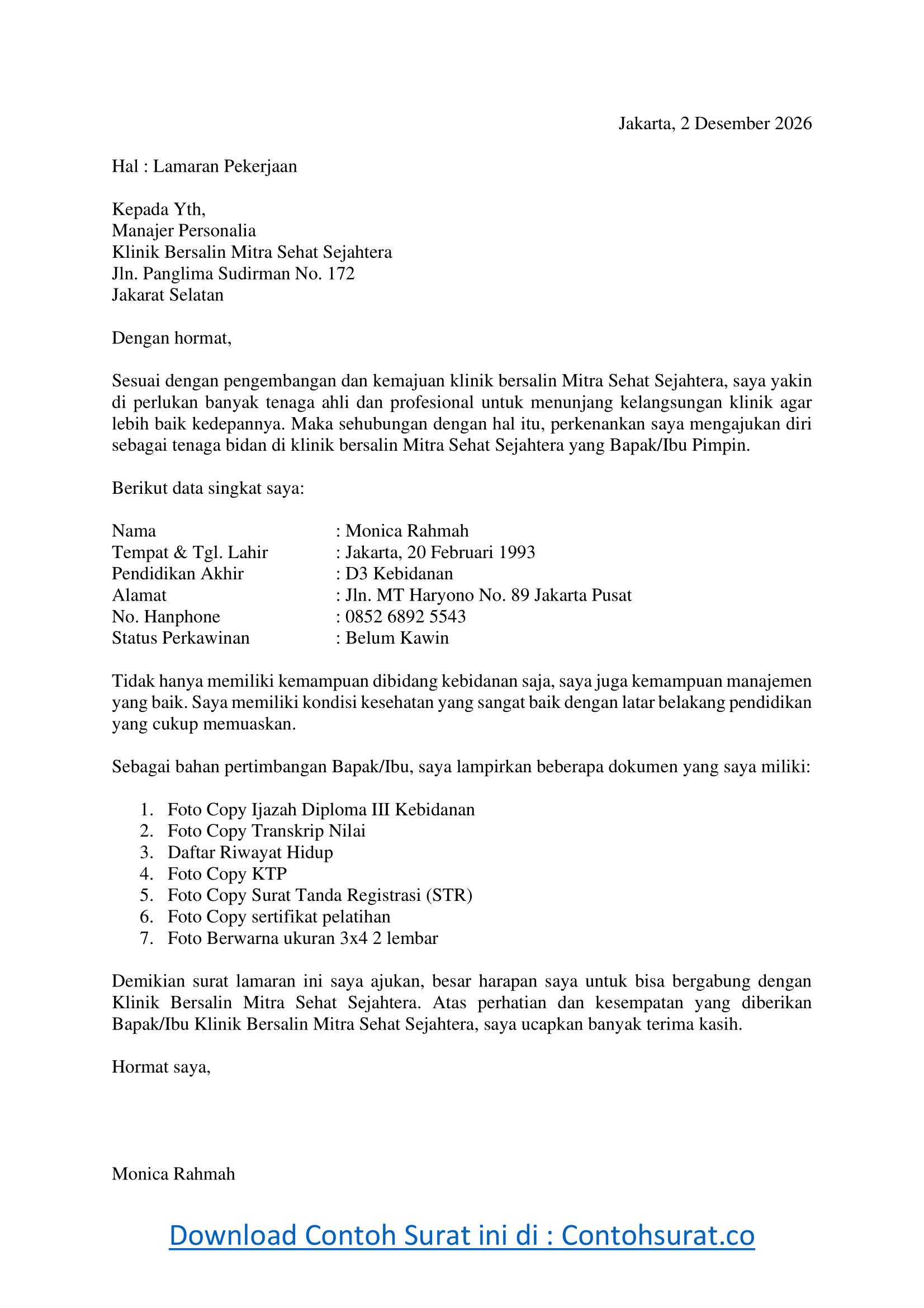 Contoh Surat Lamaran Kerja Bidan Via Email