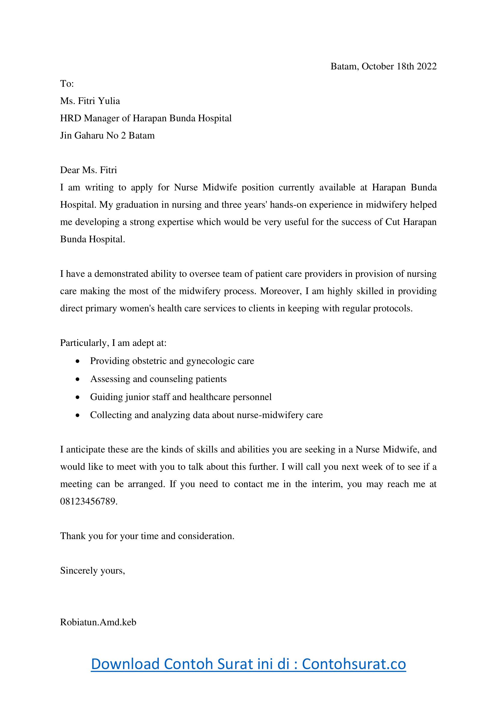 Contoh Surat Lamaran Kerja Bidan Dalam Bahasa Inggris