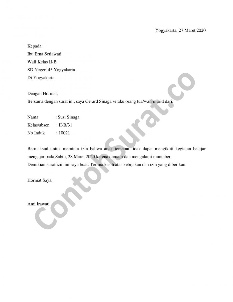 Download Contoh Surat Izin Tidak Sekolah Tingkat SD