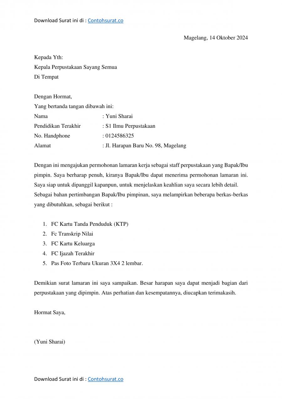 Download Contoh Surat Lamaran Kerja Singkat Docx