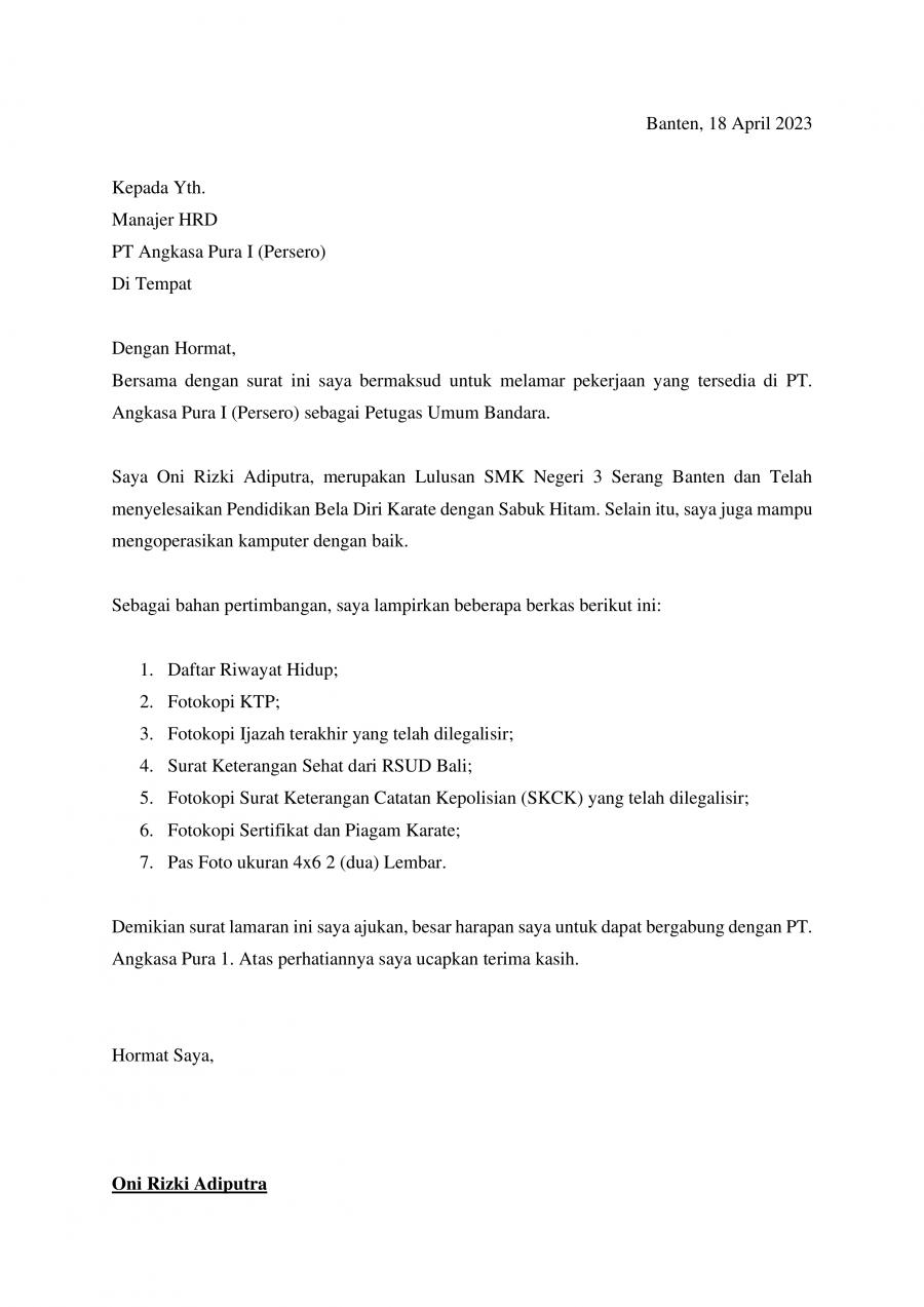 Download Download Contoh Surat Lamaran Kerja Di Bandara Lulusan Sma Smk