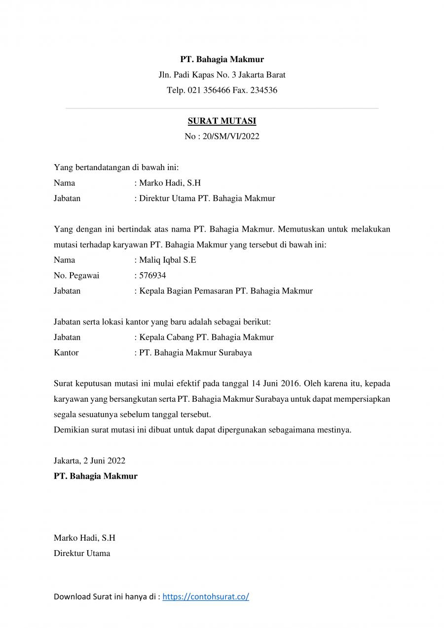 Contoh Surat Pindah Tugas Karyawan Swasta Contoh Surat Perintah Mutasi Kerja