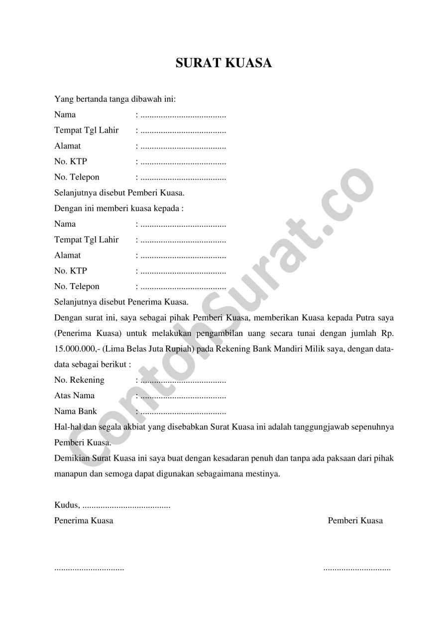 Download Contoh Surat Kuasa Pengambilan Uang Di Bank Bri Mandiri Bni Bca Danamon